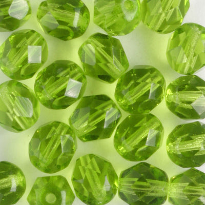 6mm Round Fire Polish Olivine