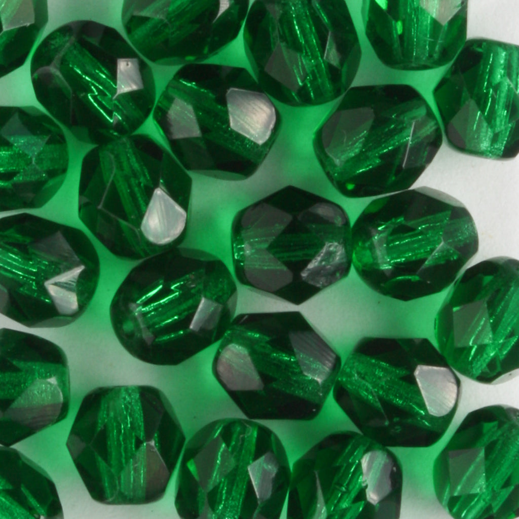 6mm Round Fire Polish Emerald Green