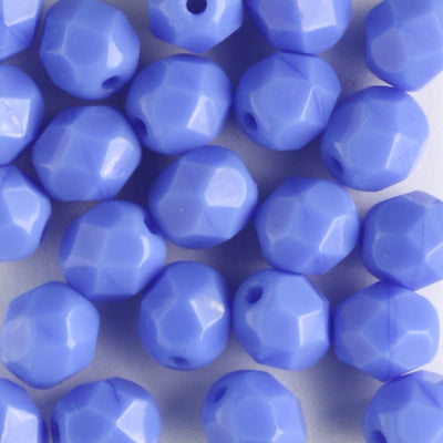 6mm Round Fire Polish Opaque Blue
