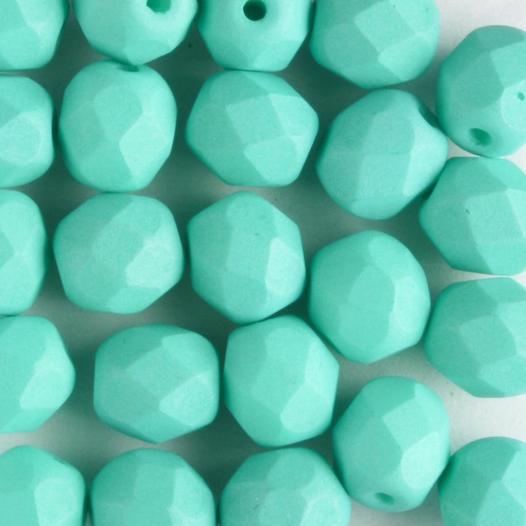 6mm Round Fire Polish Saturated Teal