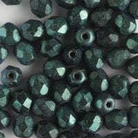 4mm Round Fire Polish Polychrome Aqua Teal