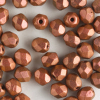 4mm Round Fire Polish Polychrome Copper Rose