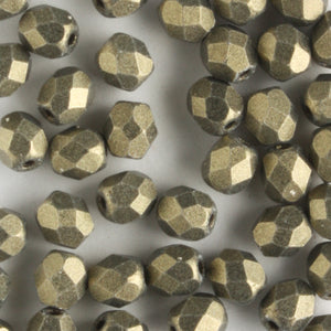 4mm Round Fire Polish Metallic Suede Gold