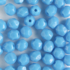 4mm Round Fire Polish Opaque Blue Turquoise