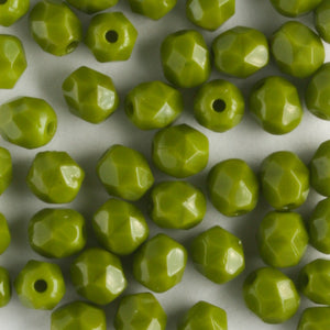 4mm Round Fire Polish Opaque Olive
