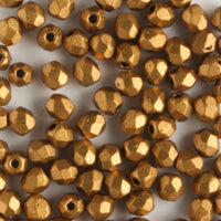 3mm Round Fire Polish Matte Metallic Goldenrod