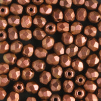 3mm Round Fire Polish Polychrome Copper Rose