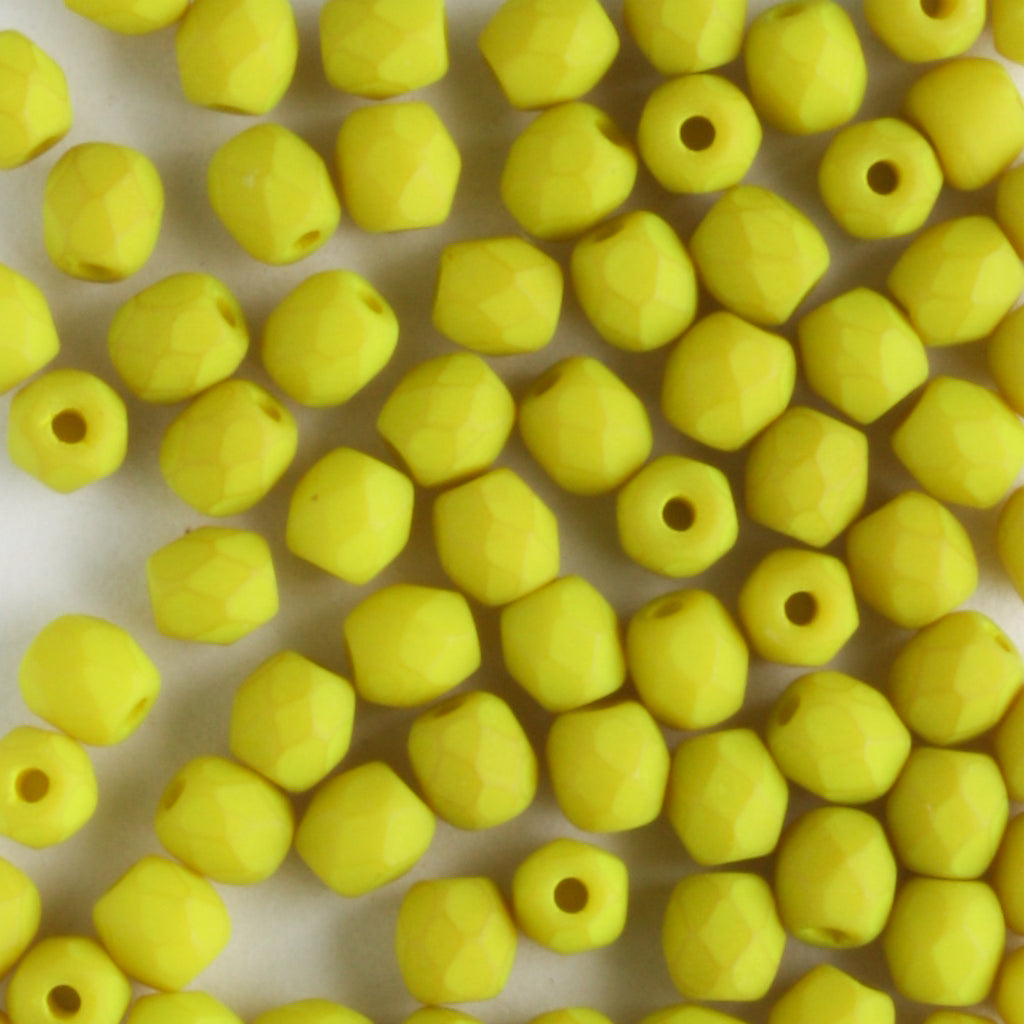 3mm Round Fire Polish Saturated Chartreuse