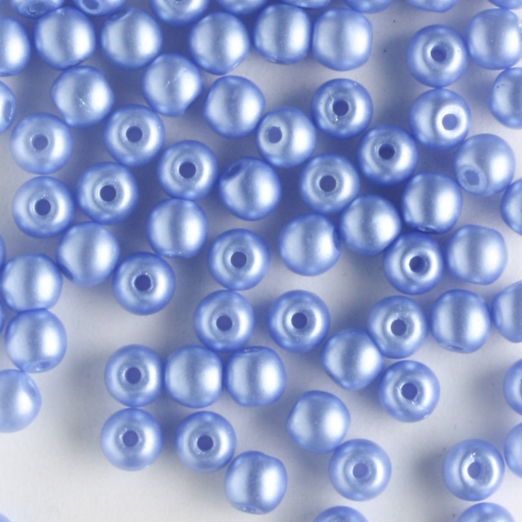 3mm Round Glass Pearls Baby Blue