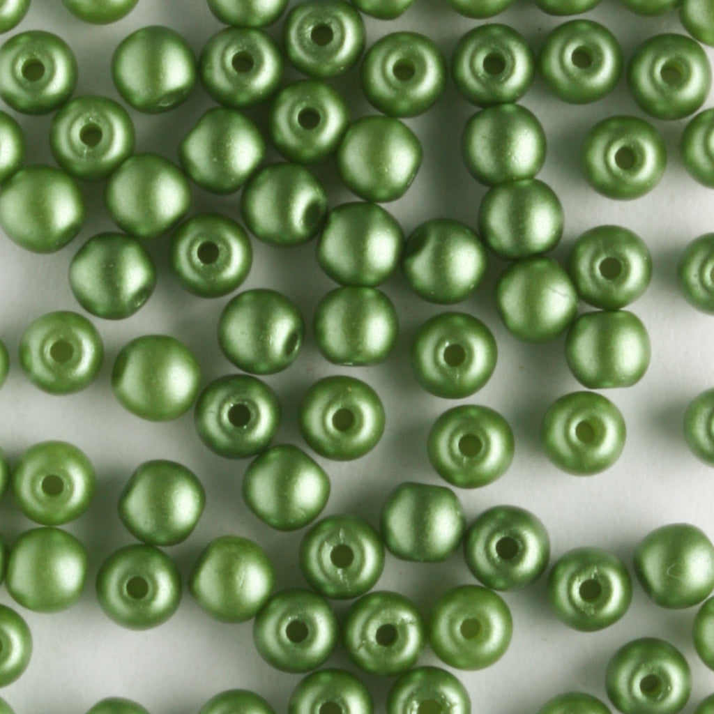 3mm Round Glass Pearls Olive