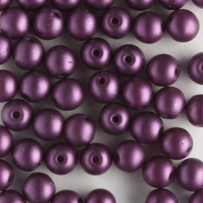 4mm Round Glass Pearls Matte Purple Velvet