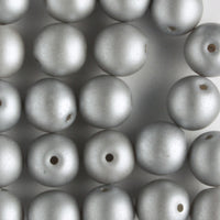 6mm Round Glass Pearls Matte Silver