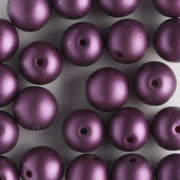 6mm Round Glass Pearls Matte Purple Velvet