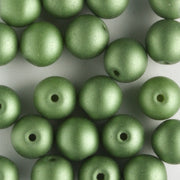 6mm Round Glass Pearls Matte Olive
