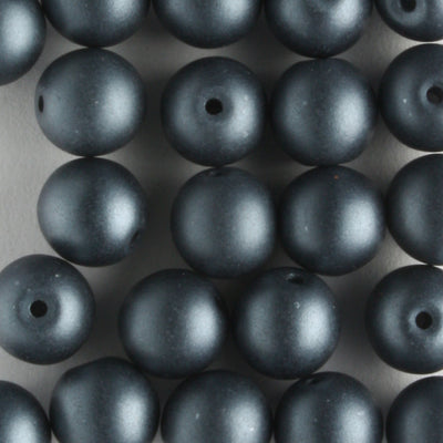 6mm Round Glass Pearls Matte Charcoal