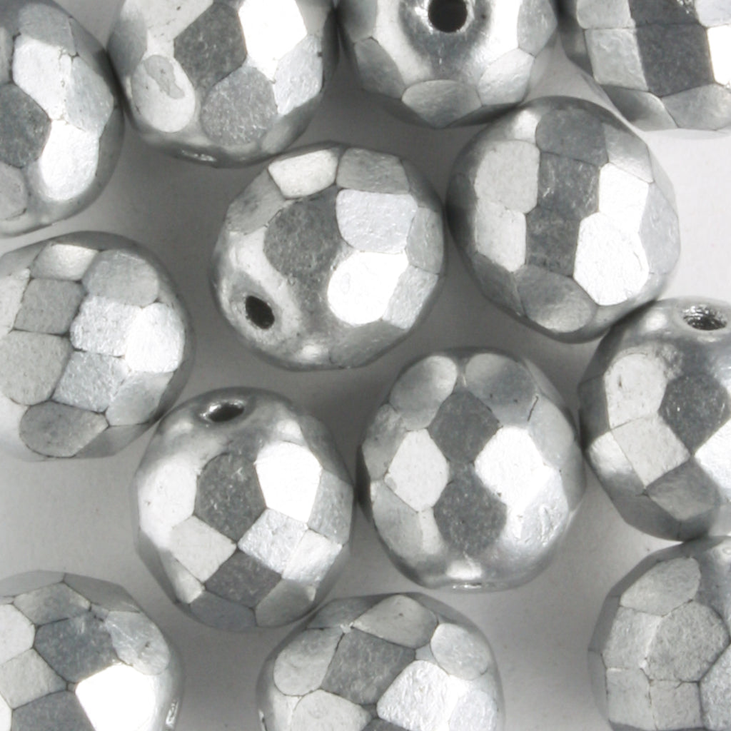 8mm Round Fire Polish Silver