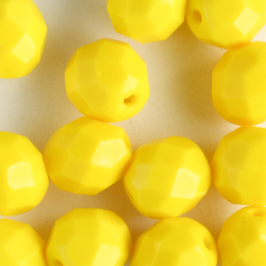 8mm Round Fire Polish Opaque Yellow
