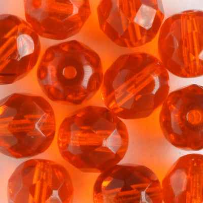 8mm Round Fire Polish Burnt Orange