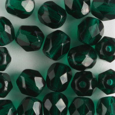 6mm Round Fire Polish Dark Green
