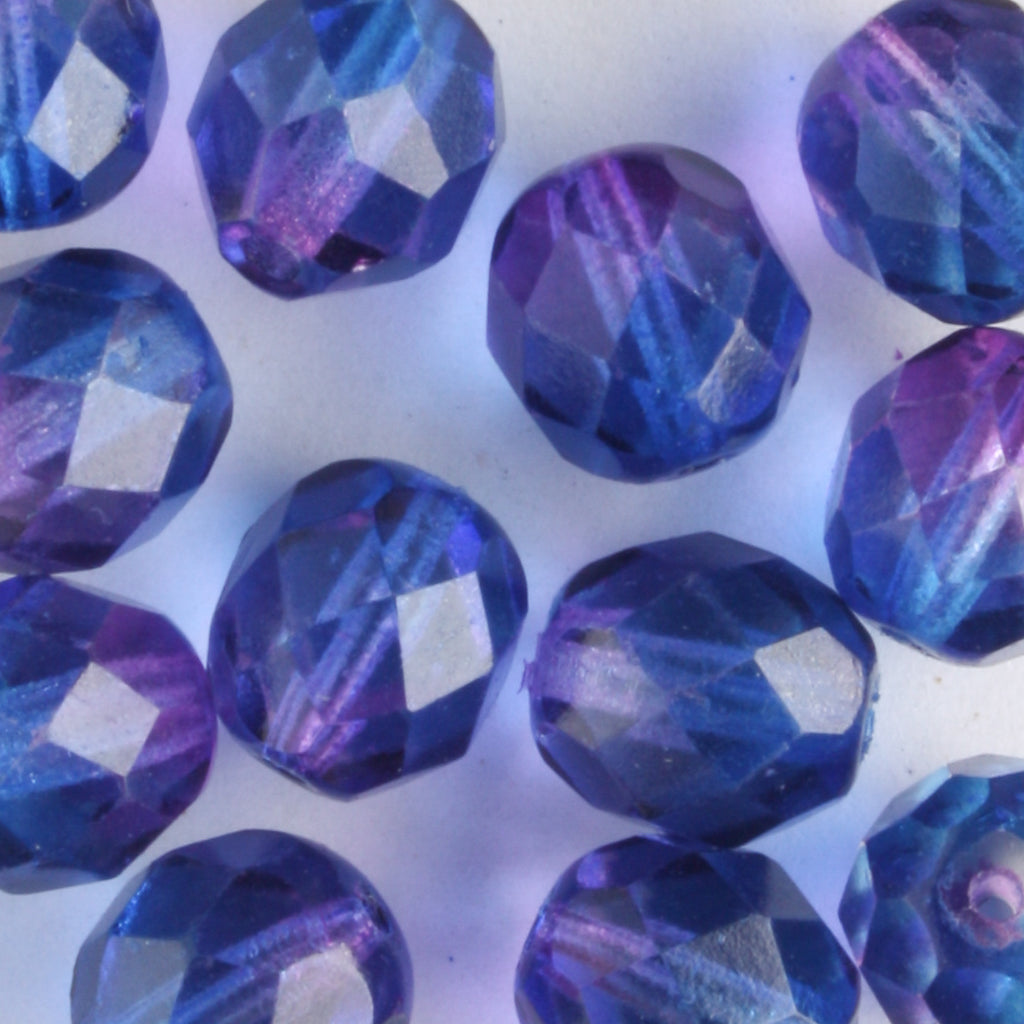 8mm Round Fire Polish Blue/Purple
