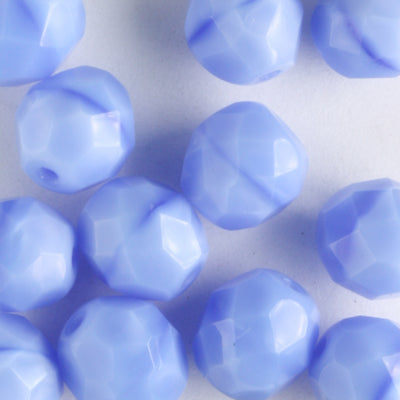 8mm Round Fire Polish Opaque Blue