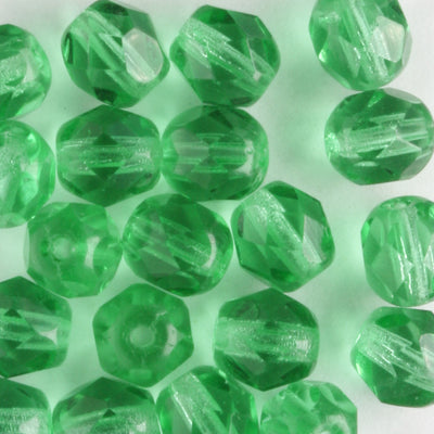 6mm Round Fire Polish Medium Green