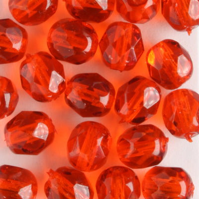 6mm Round Fire Polish Dark Orange