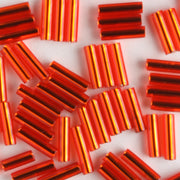 6mm Bugle Silver Lined Orange Red (Miyuki)