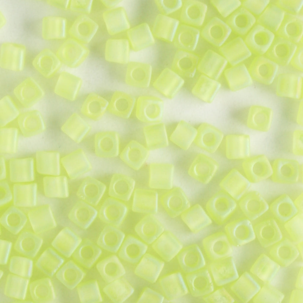1.8mm Cube Transparent Matte Rainbow Lime Green (Miyuki)