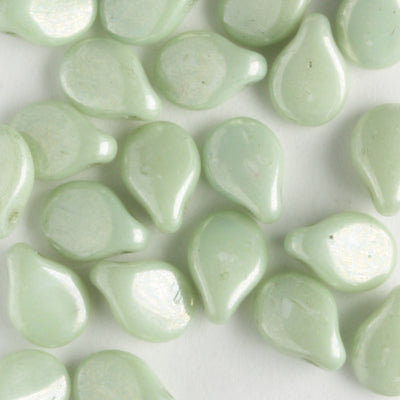 Pip White Alabaster Green Luster