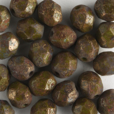 6mm Round Fire Polish Opaque Olive Stone Copper