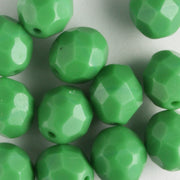 8mm Round Firepolish Grass Green