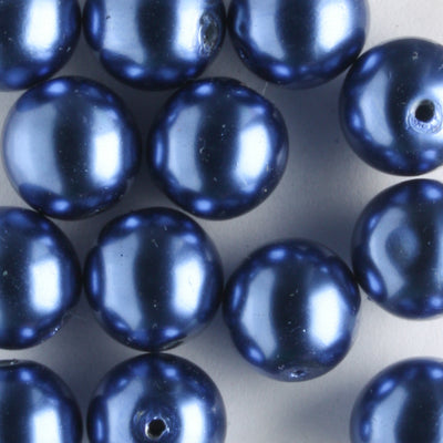 8mm Glass Pearl Royal Blue