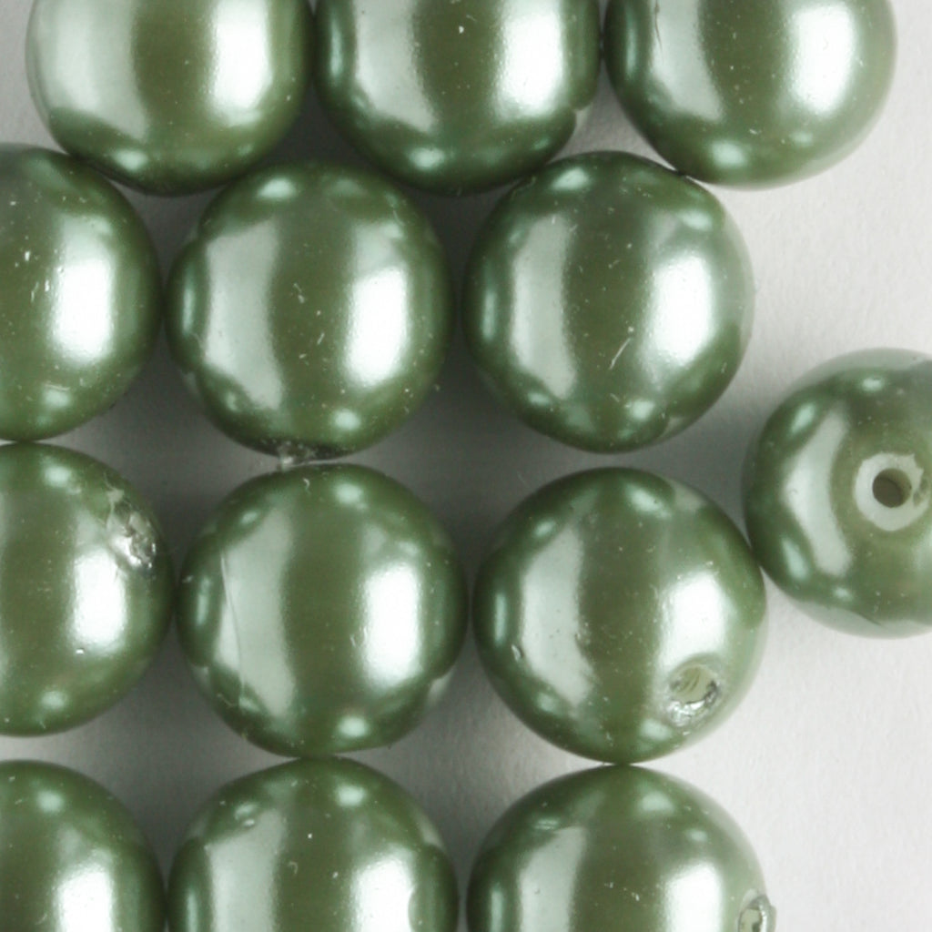 8mm Glass Pearl Sage Green