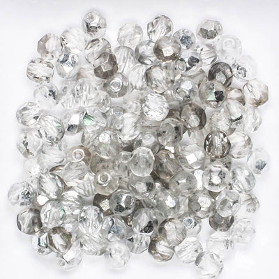 5mm Round Fire Polish Silver/Clear
