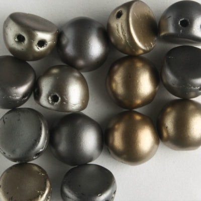 2 Hole Cabochon Matte Metallic Leather (CzechMates)