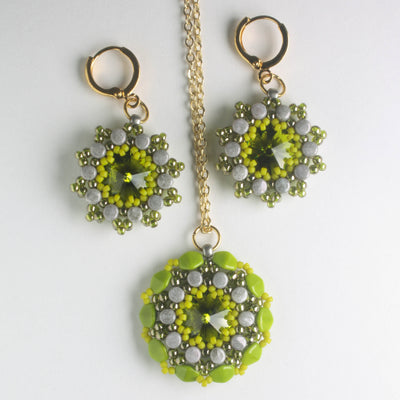 Rolling Rivoli Pendant and Earring Kit - Olivine