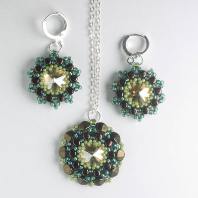Rolling Rivoli Pendant and Earring Kit - Prairie