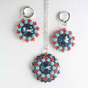 Rolling Rivoli Pendant and Earring Kit - Poppy Sky
