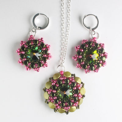 Rolling Rivoli Pendant and Earring Kit - Zinnia