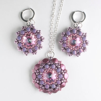 Rolling Rivoli Pendant and Earring Kit - Lilac