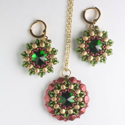 Rolling Rivoli Pendant and Earring Kit - Cranberry Fern