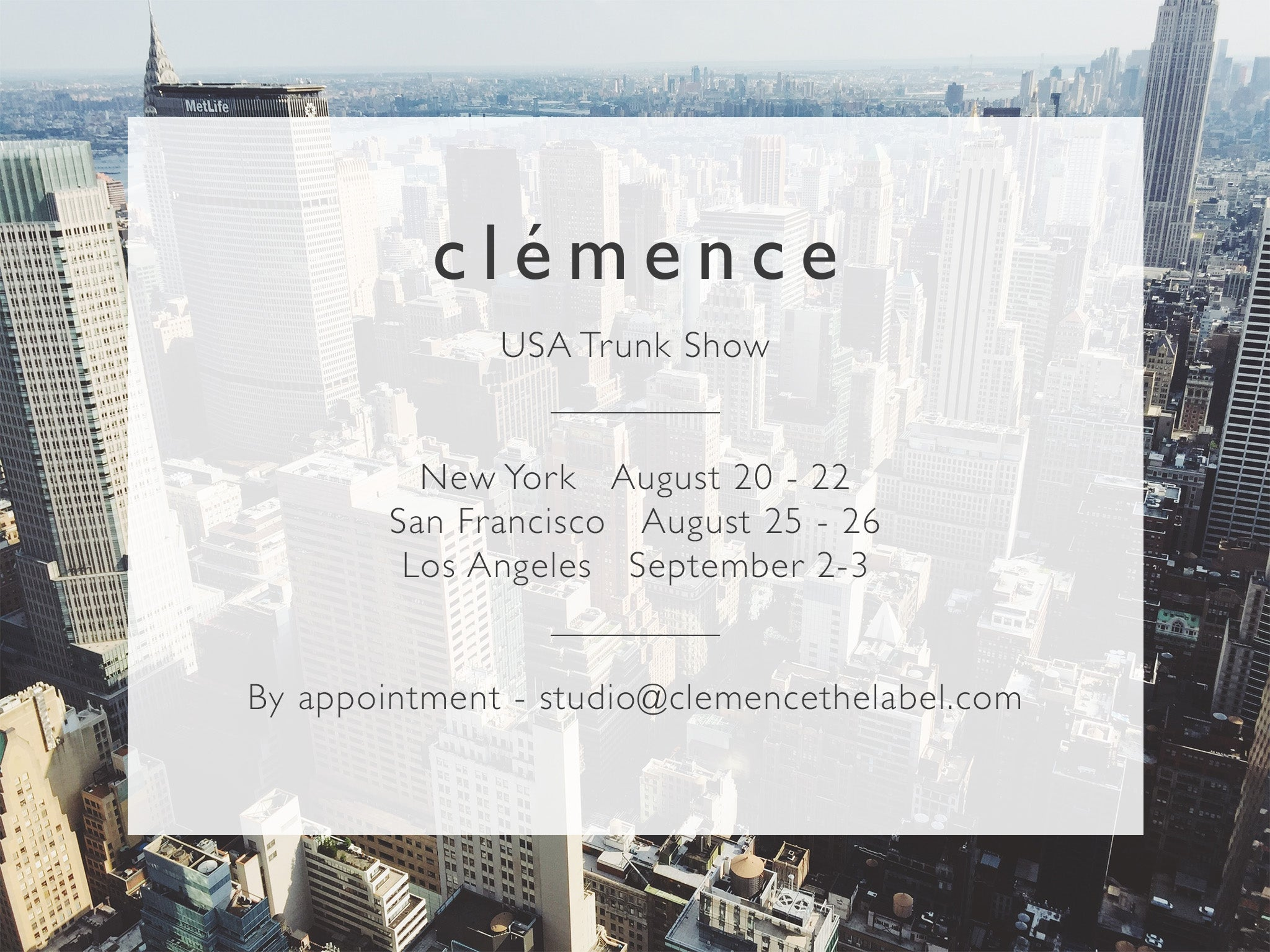 clemence USA Trunk Show
