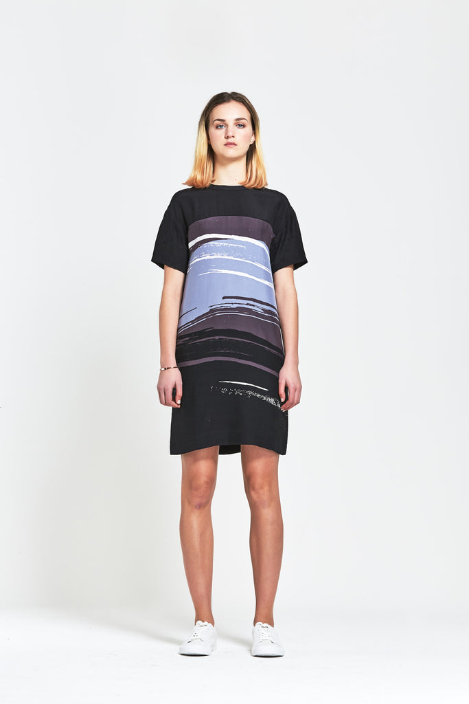 Premium Silk 'Ange' Abstract T Shirt Dress - clémence
