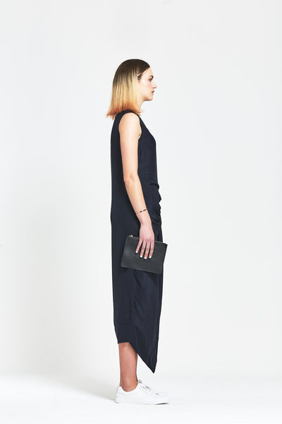 Premium Silk 'Edie' Gathered Crepe Dress - clémence