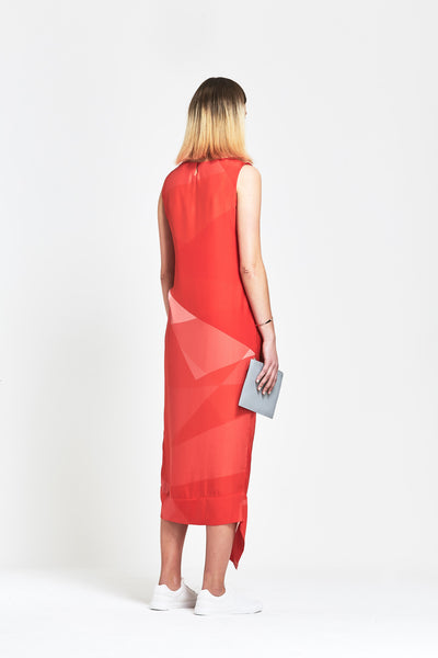 Premium Silk 'Edie' Geometric Gathered Dress - clémence