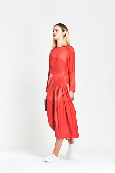 Premium Silk 'Genevieve' Long Sleeve Maxi Dress - clémence