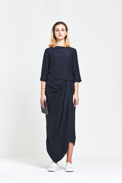 Premium Silk 'Jacqui' Gathered Dress - clémence