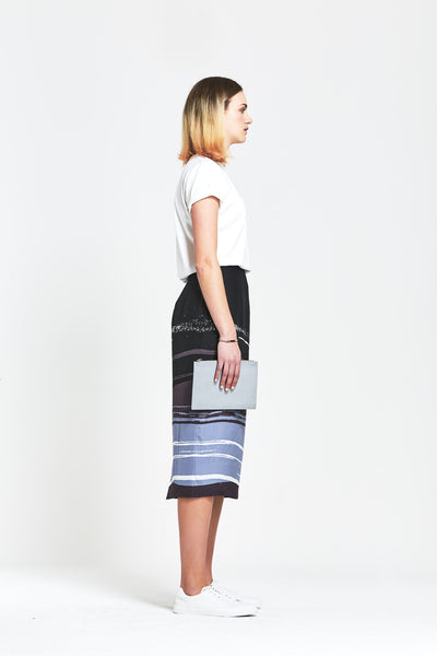 Premium Silk Abstract Print Pencil Skirt - clémence