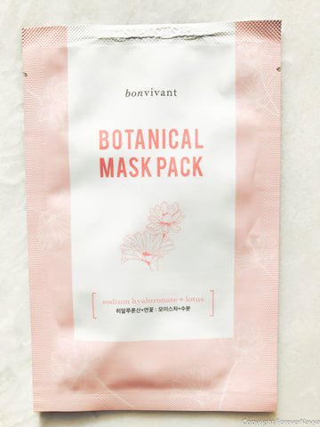 Bonvivant Bontanical Mask Pack Sodium Hyaluronate + Lotus Sheet Mask